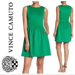 Vince Camuto green scuba neoprene fit flare dress